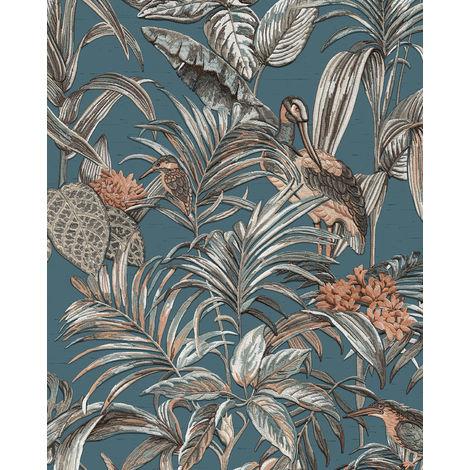 Empapelado con pájaros Profhome DE120016-DI papel pintado vinílico estampado en caliente tejido non tejido gofrado de diseño exótico brillante azul petrol plata marrón caramelo 5,33 m2