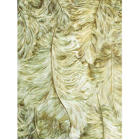 Empapelado de lujo exclusivo Profhome 822202 papel pintado vinílico gofrado con plumas brillante oliva oro pardo verdoso blanco 5,33 m2