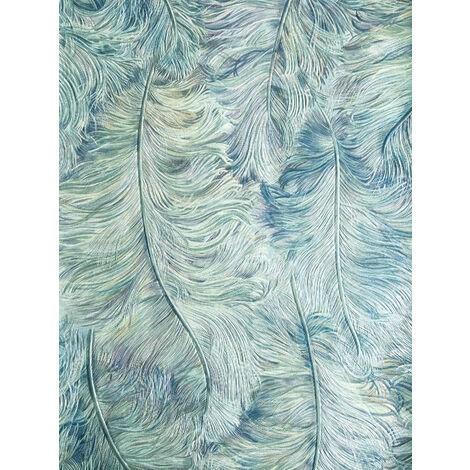 Empapelado de lujo exclusivo Profhome 822207 papel pintado vinílico gofrado con plumas brillante azul violeta-pastel blanco crema plata 5,33 m2