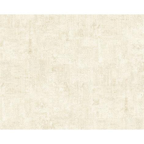 Empapelado efecto estuco EDEM 9093-10 papel pintado vinílico estampado en caliente con dorso textil gofrado de estilo shabby chic brillante crema blanco 10,65 m2