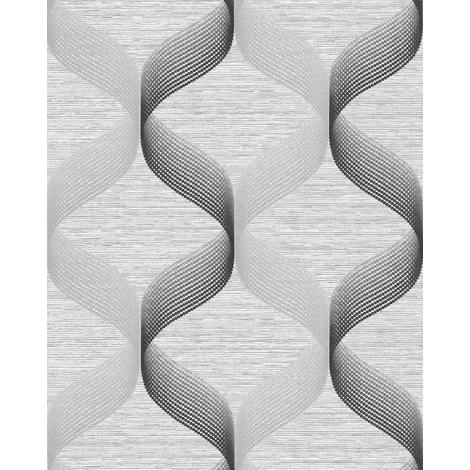 Empapelado estilo retro EDEM 1034-10 Papel pintado vinílico texturado con dibujo gráfico destellante plata gris antracita 5,33 m2