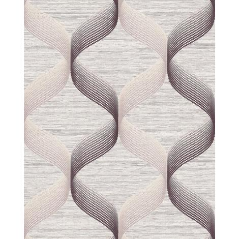 Empapelado estilo retro EDEM 1034-14 Papel pintado vinílico texturado con dibujo gráfico destellante crema beige marrón 5,33 m2