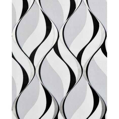 Empapelado estilo retro EDEM 1054-10 papel pintado vinílico ligeramente texturado con dibujo gráfico y acentos metálicos gris negro plata platino 5,33 m2