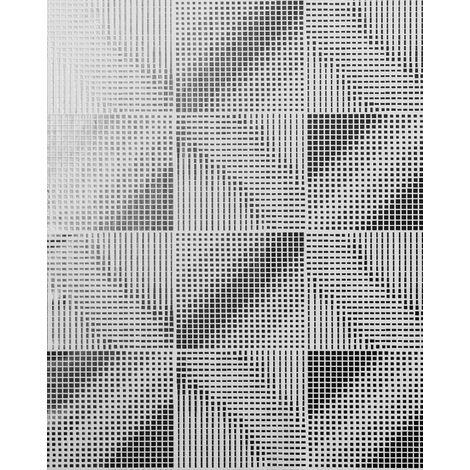 Empapelado estilo retro EDEM 85071BR30 Papel pintado ligeramente texturado con dibujo abstracto y acentos metálicos blanco gris-plata plata 5,33 m2
