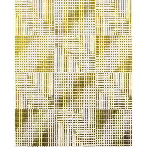 Empapelado estilo retro EDEM 85071BR31 Papel pintado ligeramente texturado con dibujo abstracto y acentos metálicos blanco oro bronce 5,33 m2
