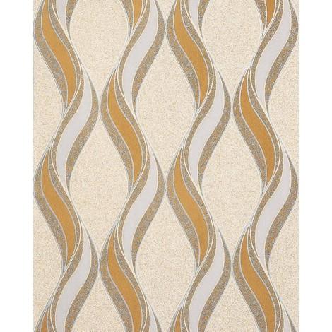 Empapelado gráfico EDEM 1025-11 aspecto textura granulada líneas onduladas ornamentos mostaza beige gris claro plata