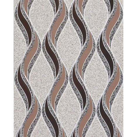 Empapelado gráfico EDEM 1025-13 aspecto textura granulada líneas onduladas ornamentos beige cacao marrón oscuro plata