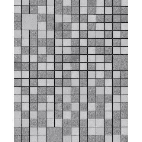 Empapelado para baños y cocinas EDEM 1033-16 Papel pintado vinílico gofrado con figuras geométricas y acentos metálicos plata platino gris 5,33 m2