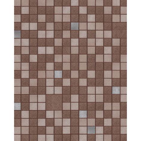 Empapelado para baños y cocinas EDEM 1033-17 Papel pintado vinílico gofrado con figuras geométricas y acentos metálicos marrón beige plata 5,33 m2