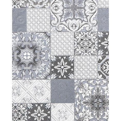 Empapelado para baños y cocinas EDEM 87001BR10 papel pintado vinílico ligeramente texturado con dibujo tipo azulejos y acentos metálicos gris antracita blanco plata 5,33 m2