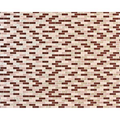 Empapelado piedra mosaico XXL no tejido EDEM 991-35 Baldosas rectangulares ornamentos metálicos marrón beige dorado chocolate 10,65 m2