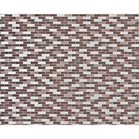 Empapelado piedra mosaico XXL no tejido EDEM 991-36 Baldosas rectangulares ornamentos metálicos marrón taupe plata chocolate 10,65 m2