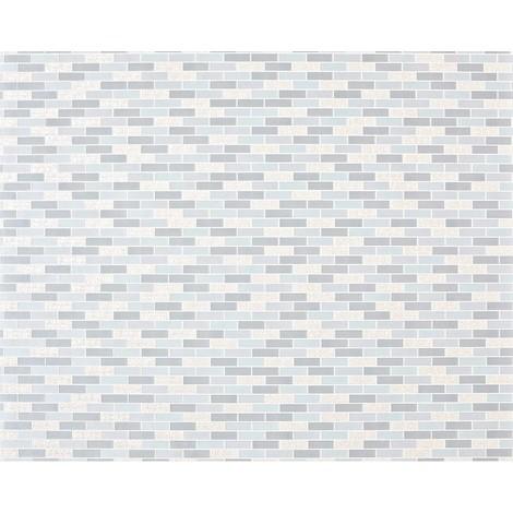 Empapelado piedra mosaico XXL no tejido EDEM 991-39 Baldosas rectangulares ornamentos metálicos azul claro gris claro plata 10,65 m2