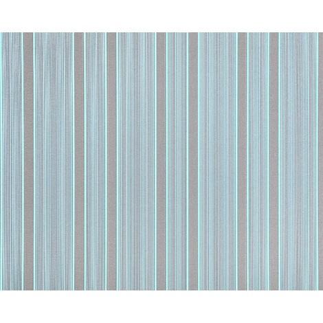 Empapelado rayas XXL no tejido EDEM 994-37 Textura en relieve gofrada en caliente azul claro azul verde menta gris brillante 10,65 m2