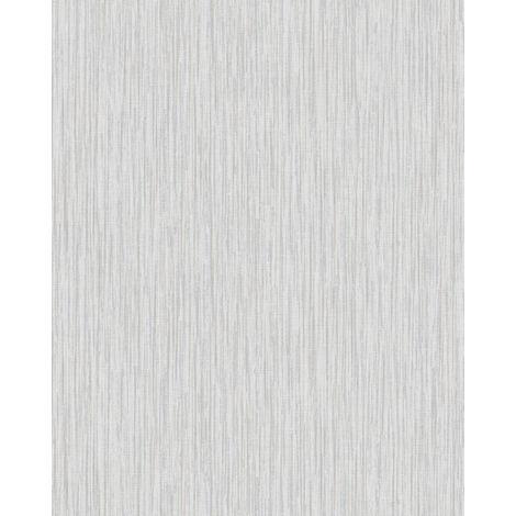 Empapelado texturado Profhome VD219133-DI papel pintado vinílico estampado en caliente tejido non tejido gofrado unicolor efecto satinado blanco gris-claro 5,33 m2
