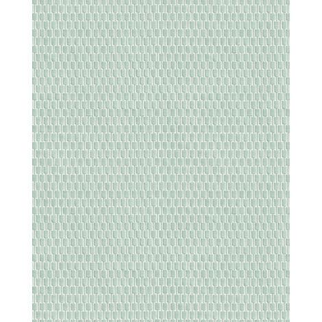Empapelado tono sobre tono Profhome DE120034-DI papel pintado vinílico estampado en caliente tejido non tejido gofrado tono sobre tono brillante verde turquesa-pastel 5,33 m2