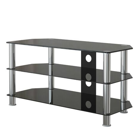 Empered Glass TV Stand Table Unit Curved Glass Table Televisions for 32-45 inch Plasma/LCD/LED/3D Black (100cm)