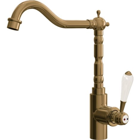 Empire Traditional Style Kitchen Sink Mixer with Swivel Spout & Single Lever - Brushed Gold Finish