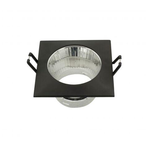 Empotrable cuadrado con reflector negro GU10 - Negro
