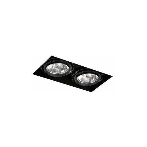 Empotrable doble cuadrado orientable de techo Faro Barcelona GINGKO-2 Negro sin marco (trimless)