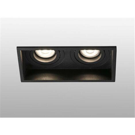 Empotrable doble cuadrado orientable de techo Faro Barcelona HYDE 40127 negro