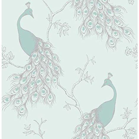 Empress Peacock Wallpaper Duck Egg Blue Teal Birds Shabby Chic Fine Decor
