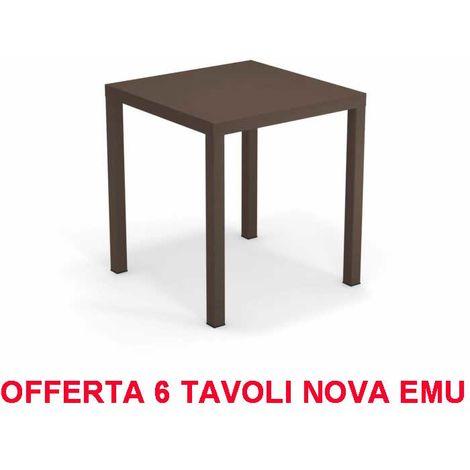 Emu Divani Da Giardino.Emu Offerta 6 Tavoli Nova 70x70 Marrone India Da Esterno Giardino Bar