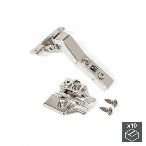 EMUCA 1012207 - Lote de 10 bisagras brazo angular 45º X91 apertura 95º y suplementos Euro con regulación excéntrica