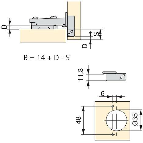 EMUCA 1017407 - Lote de 20 bisagras rectas X95 con apertura 110º y suplementos para atornillar