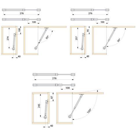 Emuca 1273725 Verin /à Gaz Relevable avec Fixations 11 kg 80 mm pour Porte de Meuble