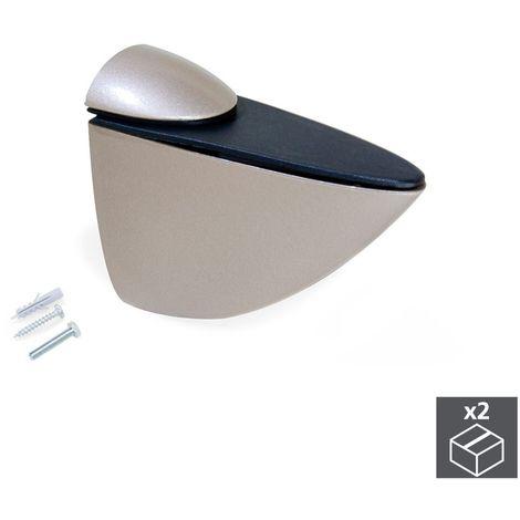 EMUCA 4009424 - Lote de 2 soportes Azor para estante de madera o cristal acabado pintado níquel mate