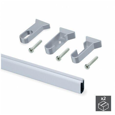 EMUCA 7061262 - Kit de 2 tubos 30x15mm de aluminio largo 1400mm y soportes Silk para armario