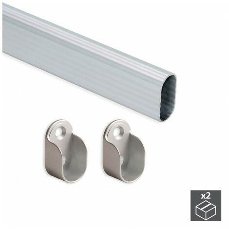 EMUCA 7061462 - Kit de 2 tubos 30x15mm de aluminio largo 950mm y soportes para armario