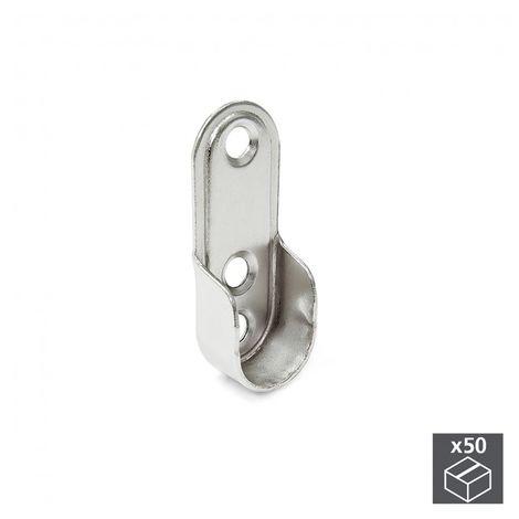 EMUCA 7063207 - Lote de 50 soportes para barra de colgar de armario en acero acabado niquelado
