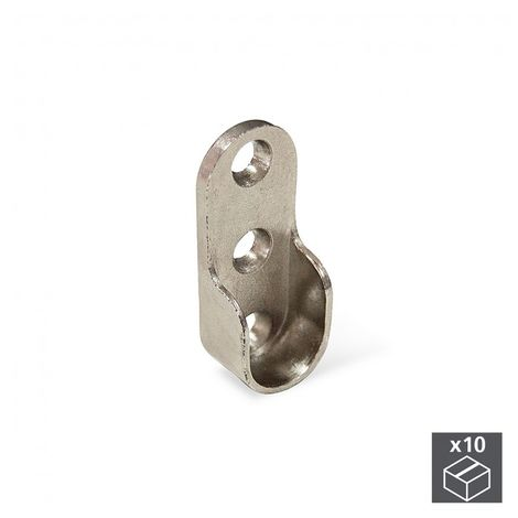 EMUCA 7065107 - Lote de 10 soportes para barra de colgar de armario en zamak acabado niquelado