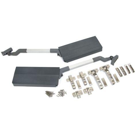 Emuca Agile Flap Compass pour portes à double ascenseur, 3,7-7,2 kg, module H 650 mm, acier et plastique, gris anthracite