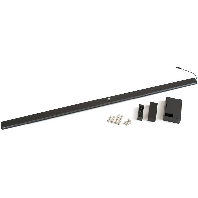 Emuca Barra appendiabili per armadi con luce LED, regolabile 558 708 mm, batteria rimovibile,sensore di movimento, Luce bianca naturale, Alum??nio,