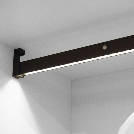 Emuca Barre de penderie pour armoire avec lumière LED, réglable 558-708 mm, batterie amovible, détecteur de mouvement, Lumière Blanc naturel, Aluminium, Couleur moka
