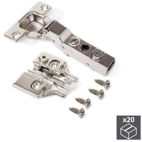 Emuca bisagra de cazoleta, d. 35 mm, codo, apertura 100º, con suplemento, 20 ud. - talla