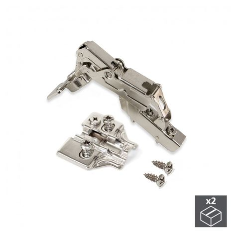 Emuca Bisagra de cazoleta, D. 35 mm, codo, cierre suave, apertura 165º, suplementos Euro, 2 ud.