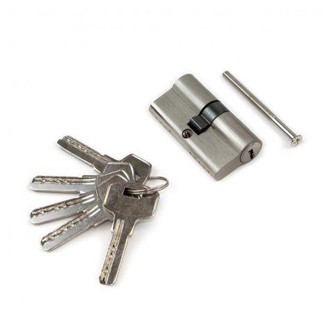 Emuca Cilindro cerradura de seguridad tipo pera para puertas, 30 x 30 mm, embrague simple, leva larga, con 5 llaves, aluminio, níquel satinado.