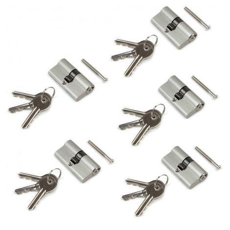 Emuca Cilindro cerradura tipo pera para puertas, 30 x 30 mm, embrague simple, leva larga, con 5 llaves, aluminio, níquel satinado, 5 sets.