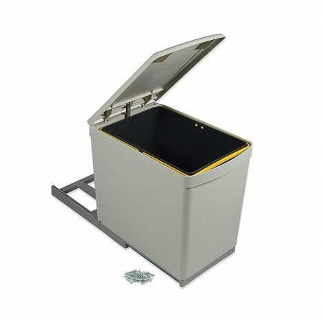 Emuca Contenedor de reciclaje, 16 L, fijación inferior, extración manual, tapa automatica, Plástico, Gris
