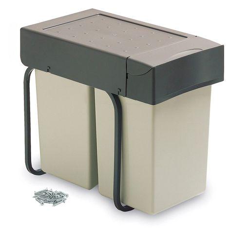 Emuca Contenedores de reciclaje, 2 cubos de 14 L, fijación interior, tapa automatica, Plástico, Gris