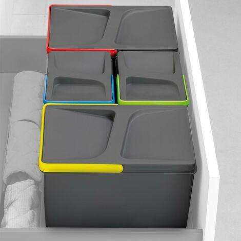 Emuca Contenedores para cajón cocina, altura 266 mm, 7L, Gris antracita, 2 ud.