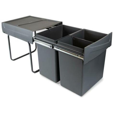 Emuca Contenedores reciclaje para cocina, 2x20 L, fijación inferior, extracción manual, acero y plástico, gris antracita - talla