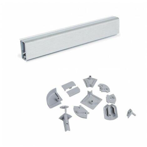 Emuca Copete rectangular para cocina, con accesorios para instalación, 4,7 m, plástico, anodizado satinado.