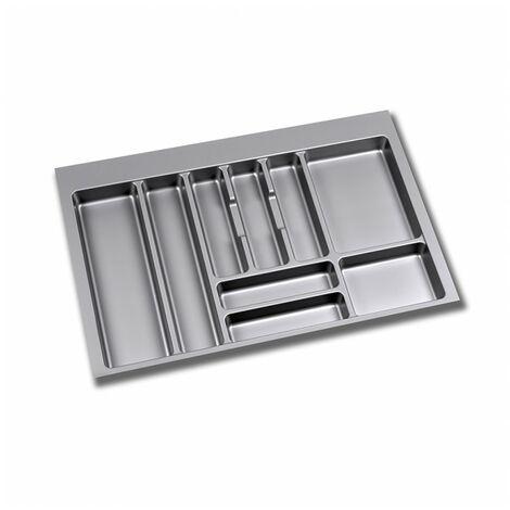 Emuca Cubertero para cajón de cocina, módulo 1000 mm, Plástico, Gris - Plástico gris