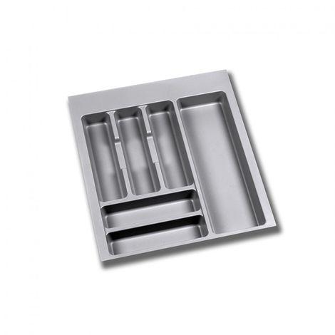 Emuca Cubertero para cajón de cocina, módulo 500 mm, Plástico, Gris