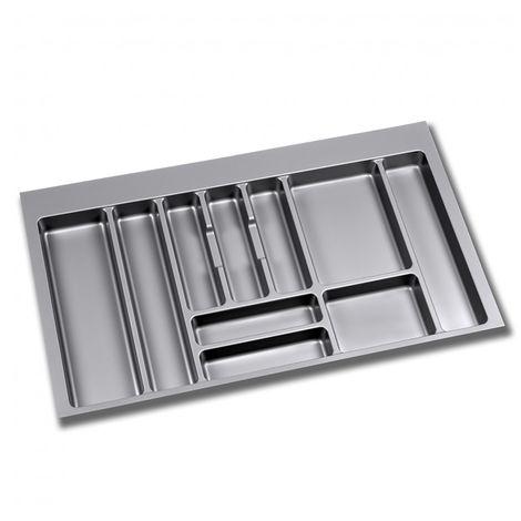 Emuca Cubertero para cajón de cocina, módulo 600 x 500 mm, espesor 16 mm, Plástico, Gris